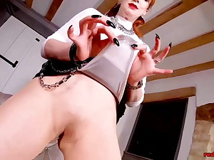 Red wife masturbates in stocking with Faux-cock