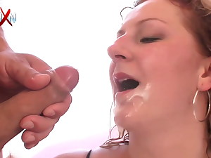 Gorgeous towheaded in fishnets getting gangbanged