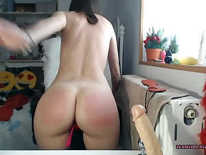 Point of view of red ass twerking and having an orgasm with a toy in pussy