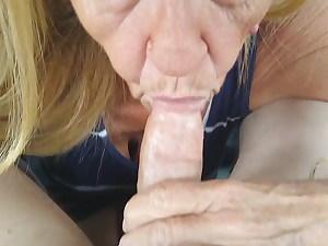My new hot grannie deep throating in car