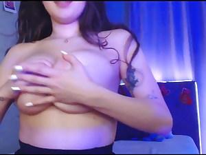 Busty Asian girl on webcam