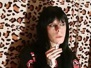 Beautiful goth mistress smoking 2 pt1 HD