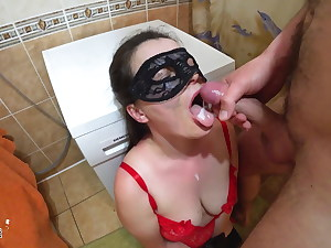 Husband Facefuck Red-hot Girl and Cum in Mouth in the Bathroom