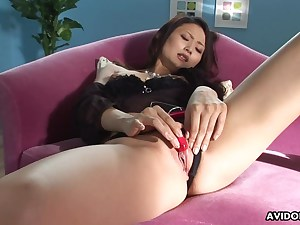 Japanese whore in her fine undergarments fingerblasting her pussy slot