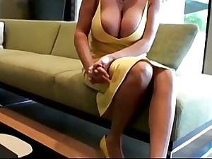 Lusty blondie mom with massive boobies is deep throating jizz-shotgun while getting down on all fours on the floor and getting drilled